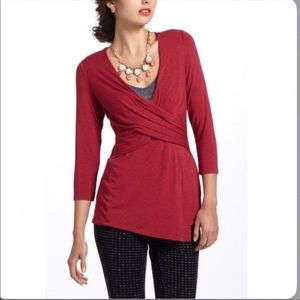 Anthro One September Faux Wrap Blouse Large Tunic